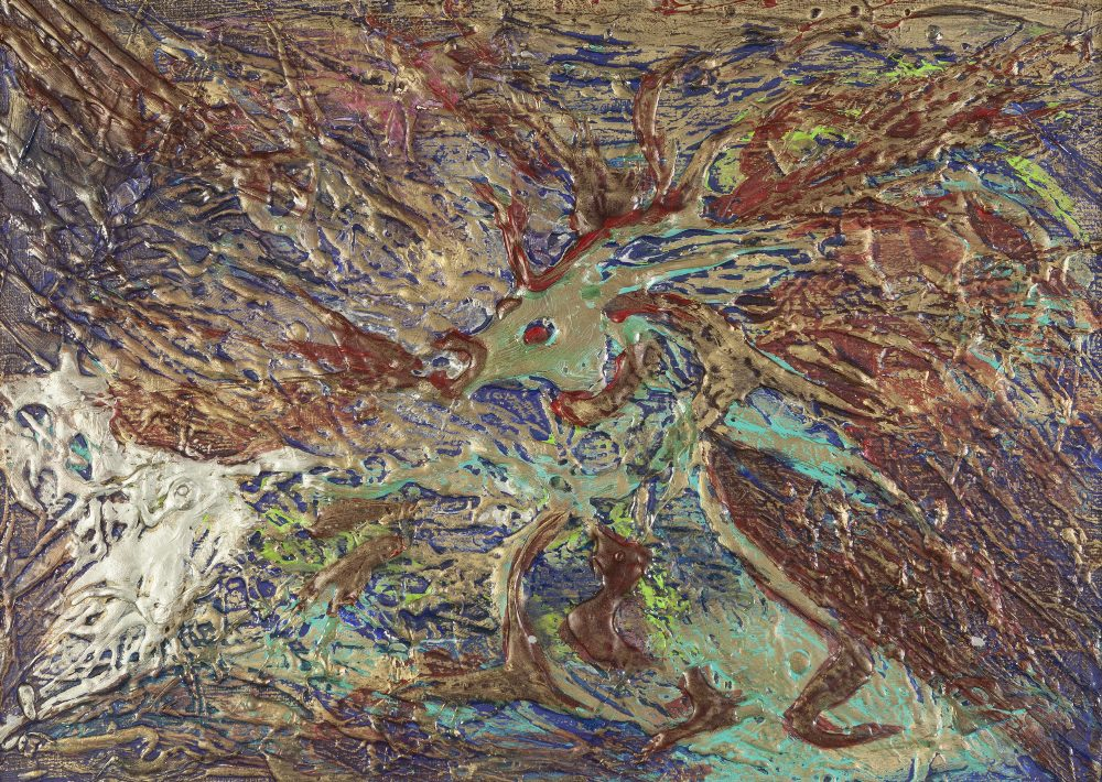 Lot 387 - JOHN CHARLES 'BARRY' STOCKTON (1942-2015) MIXED MEDIA ON ARTIST BOARD Abstract in colours
