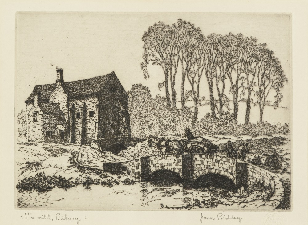 "Lot 344 - JAMES PRIDDEY (1916-1980) THREE ARTIST SIGNED ETCHINGS, One coloured, 'The End of The Road' 9 ¾"" x"