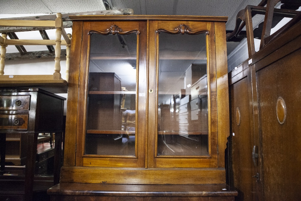 Lot 22 - VICTORIAN FLAME MAHOGANY AND MAHOGANY DISPLAY CABINET ON CHEST, THE ASSOCIATED TOP WITH DOUBLE