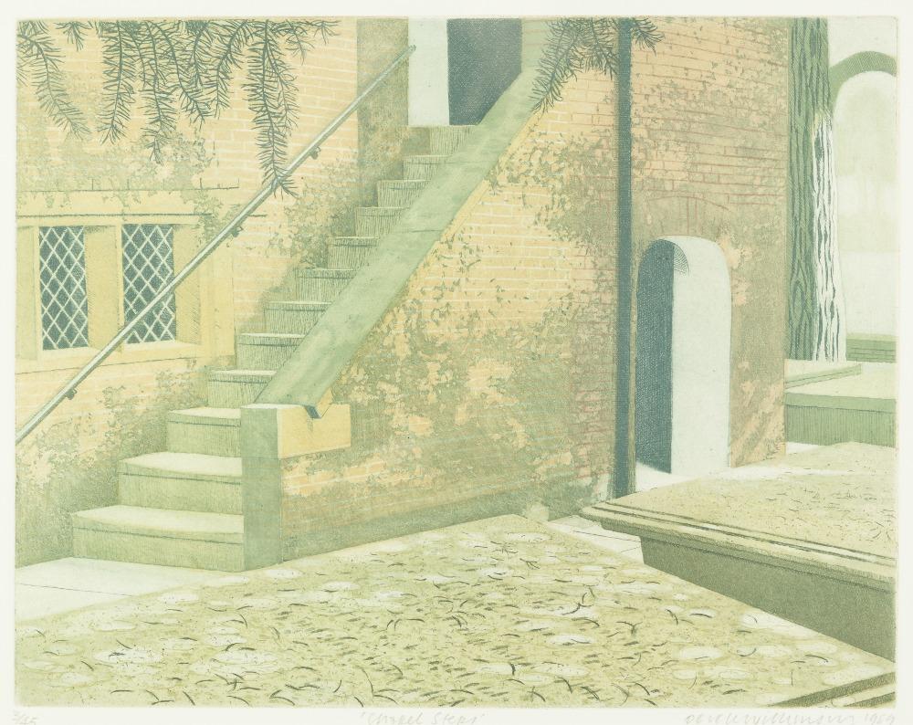 Lot 348 - DEREK WILKINSON (1929-2001) ARTIST SIGNED LIMITED EDITION COLOURED PRINT 'Chapel Steps' (3/45)