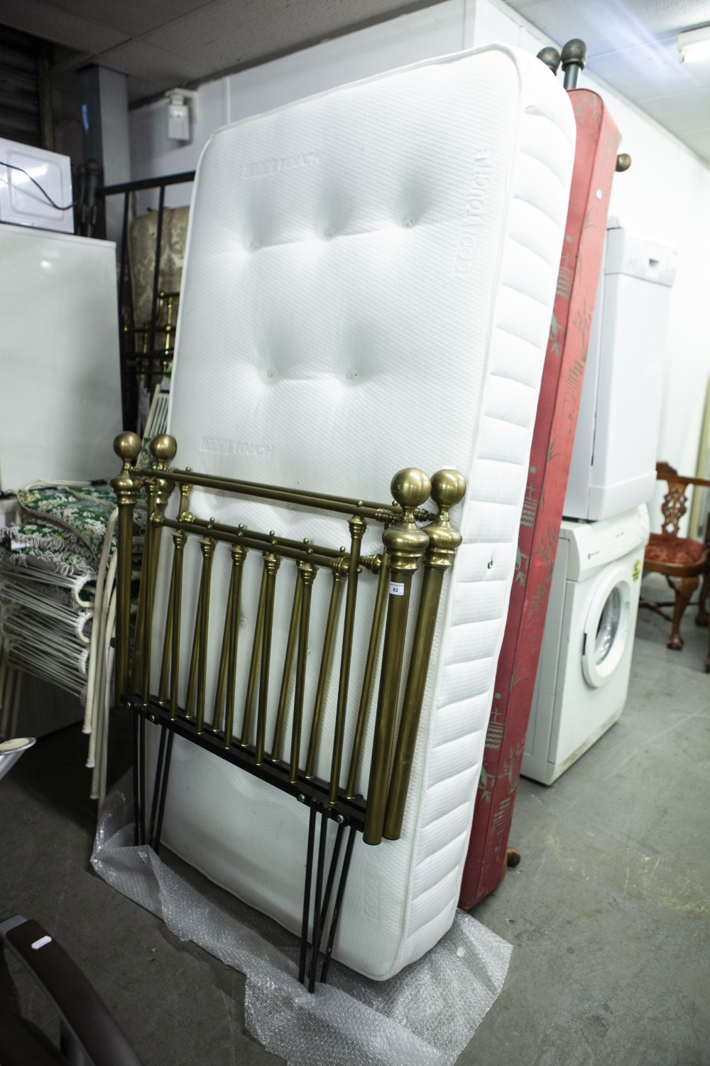 Lot 63 - PAIR OF SINGLE BRASS HEADBOARD, BED BASE WITH MATTRESS