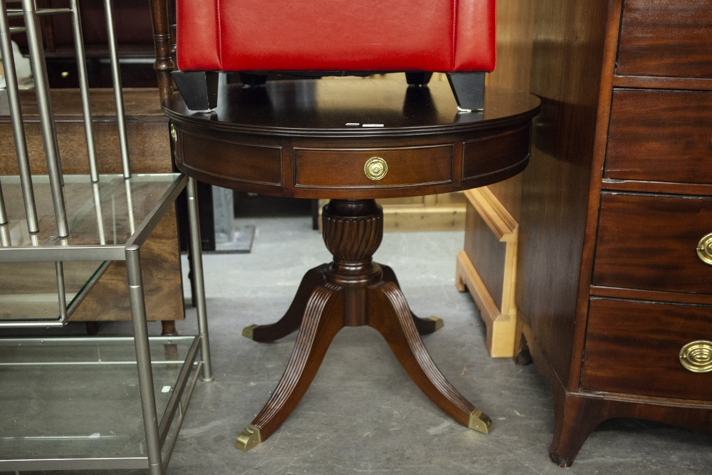 Lot 2 - REGENCY STYLE CIRCULAR DINING TABLE WITH DRAWERS ON QUADRANT BASE WITH BRASS CASTORS