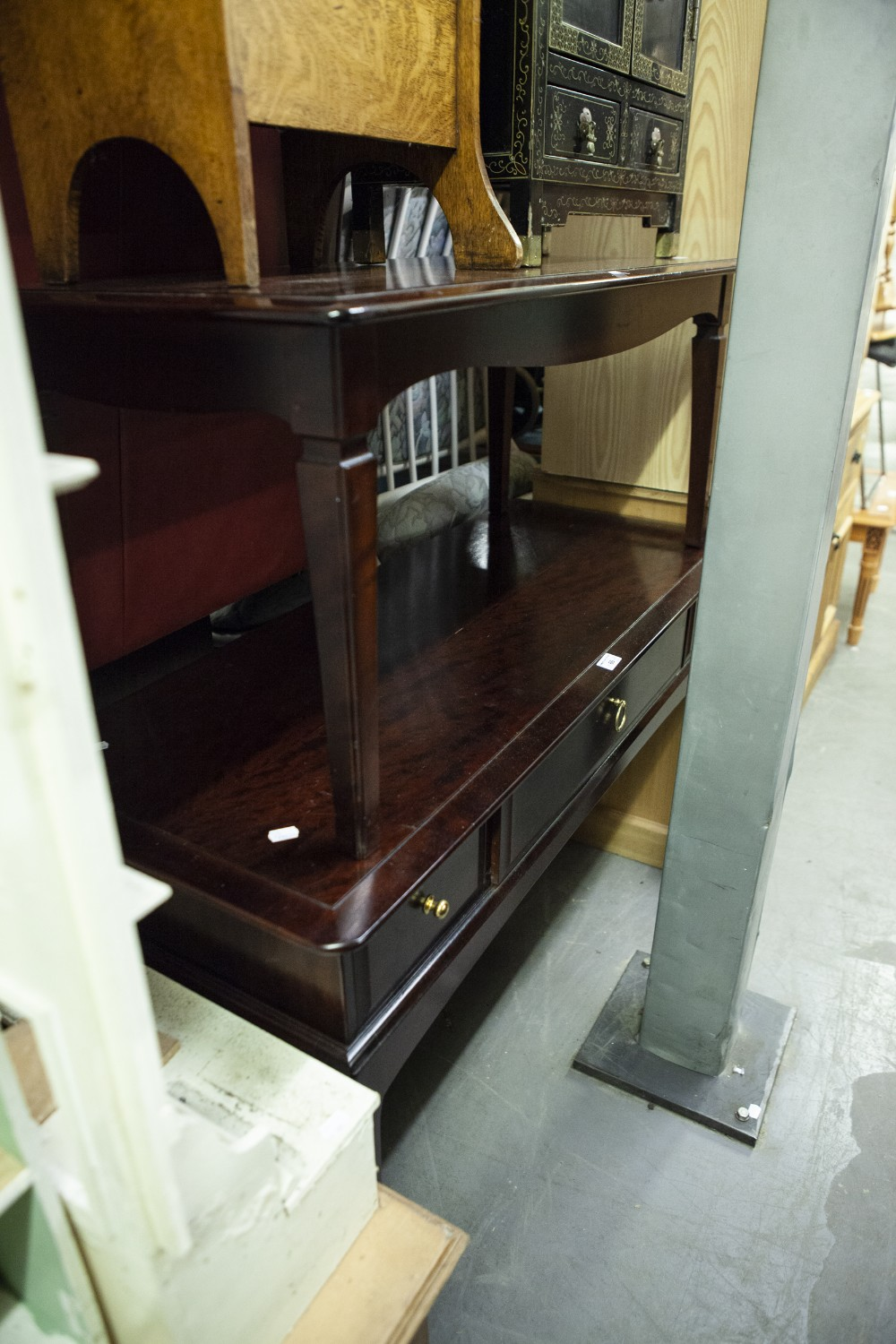 Lot 66 - STAG THREE DRAWER DRESSING TABLE/DESK AND THE MATCHING COFFEE TABLE