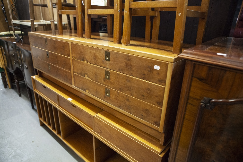 """Lot 35 - YEW WOOD LONG, LOW CHEST OF SIX DRAWERS, WITH BRASS RECESSED HANDLES, 4'9"""" WIDE, 1'6"""" HIGH"""