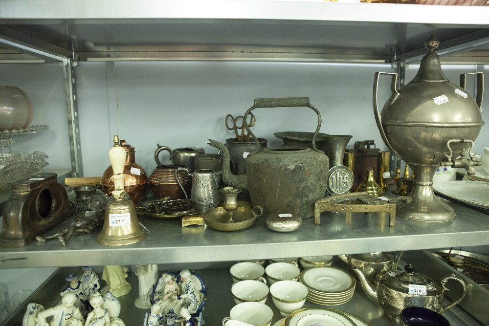 Lot 211 - A COLLECTION OF METAL AND BRASS WARES TO INCLUDE; TANKARDS, A TEA URN, RAZOR, A HAND BELL, A FIRE
