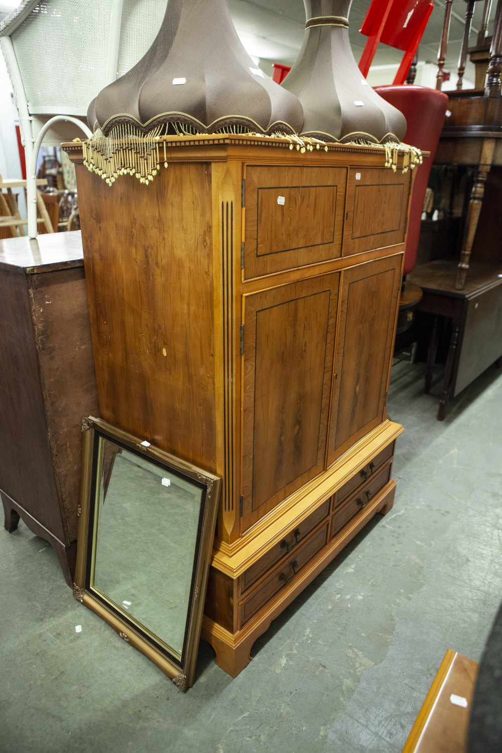 Lot 4 - LARGE YEW-WOOD TV CABINET