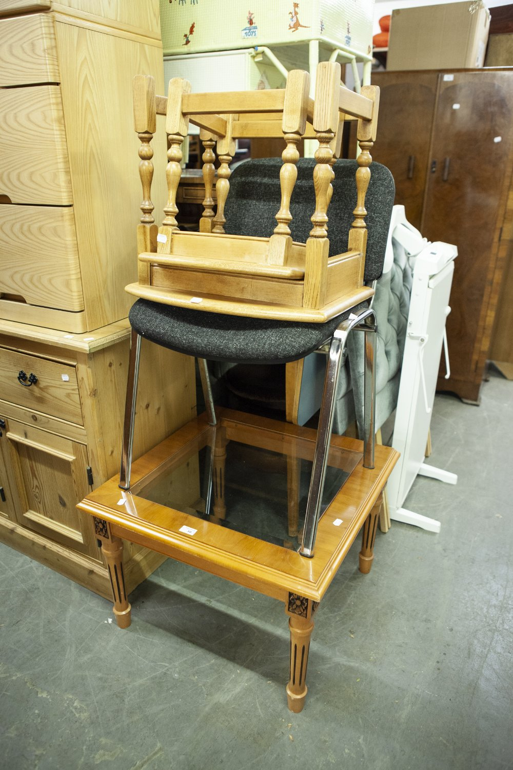 Lot 10 - YEW-WOOD SQUARE COFFEE TABLE, BLACK OFFICE CHAIRS, NEST OF TWO TABLES AND A TROUSER PRESS