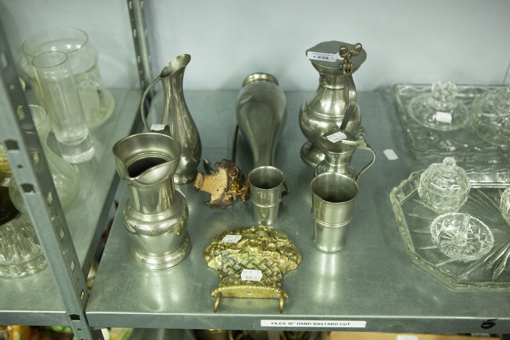 Lot 239 - SEVEN PIECES OF MODERN DUTCH PEWTER, AND TWO BRASS AND PAINTED IRON PIECES (9)