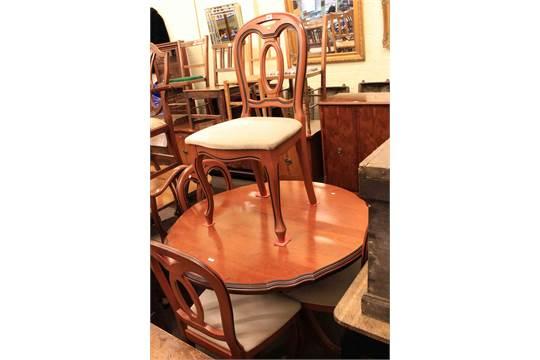 Wondrous John E Coyle Ltd Circular Extending Dining Table And Four Bralicious Painted Fabric Chair Ideas Braliciousco