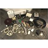 ASSORTED LOT OF ELECTRONIC OUTLETS, WIRES, SWITCH BOX, PORTABLE HEATER, CAR RADIO AND COMPUTER MICE.