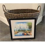 HAND PAINTED FRENCH ART FROM PARIS STREETS AND BEAUTIFUL BASKET