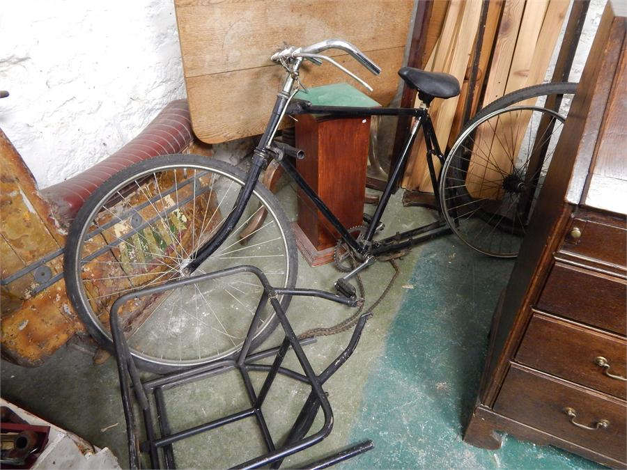 Lot 44 - delivery bike or trade bicycle - Missing rear wheel, front wheel nuts, and brackets for carrier.