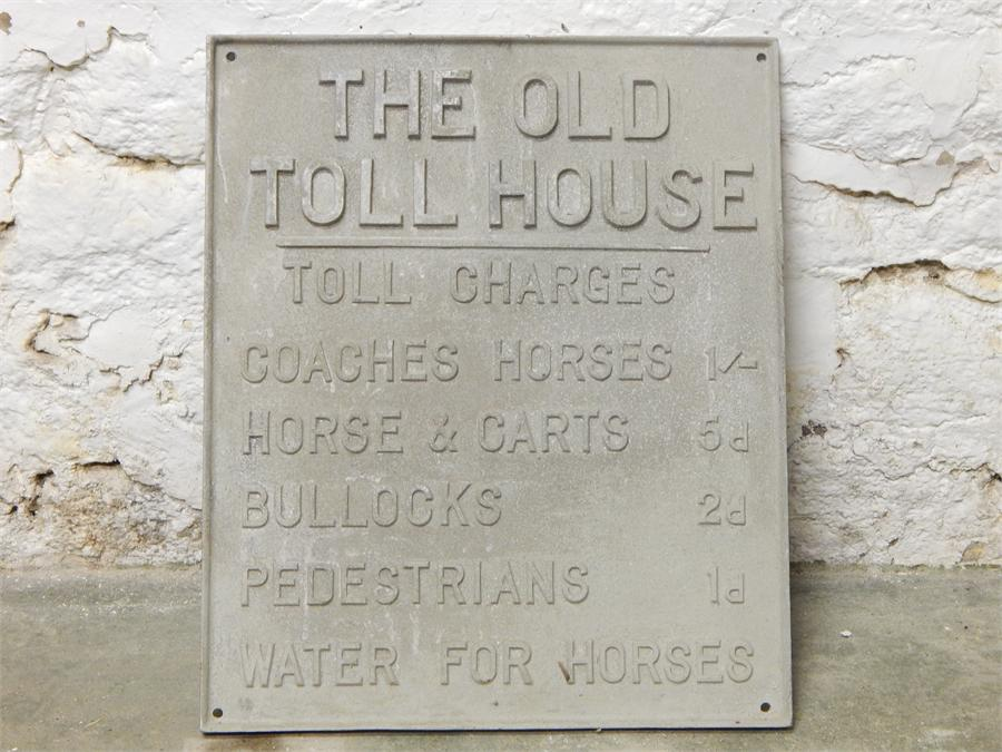 """Lot 14 - """"the old toll house"""" cement? sign - modern"""