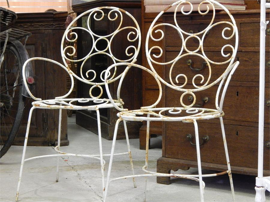 Lot 25 - Wrought Iron Garden Patio Chairs mid 20th century ~