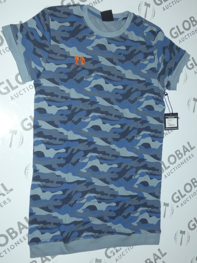 Lot 179 - Brand New Boy Meets Girl Blue Camo Oversized T-Shirts RRP £45 Each