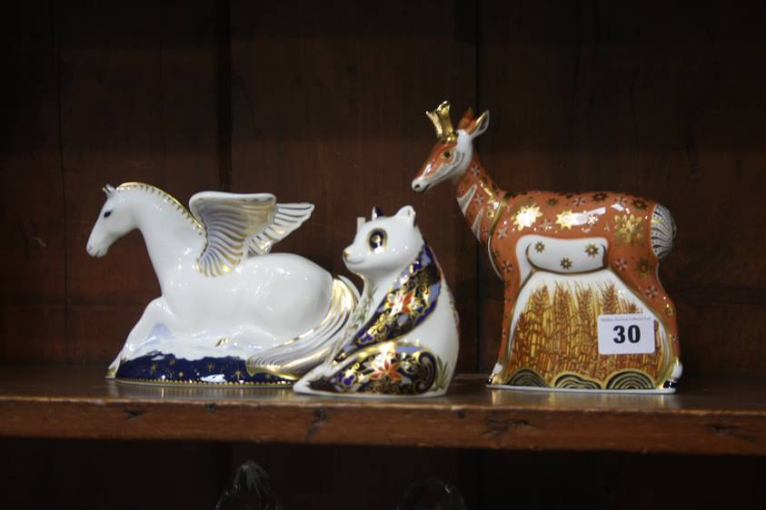 Lot 30 - Three Royal Crown Derby paperweights