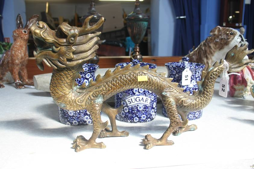 Lot 52 - A brass dragon