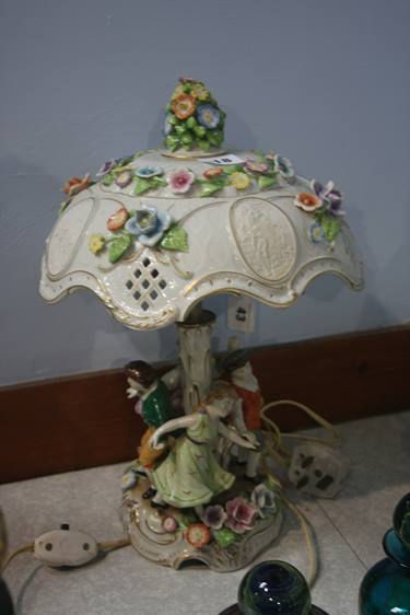 Lot 18 - A Continental figural lamp and shade
