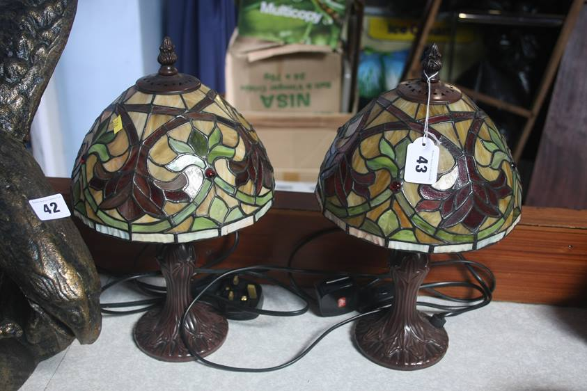 Lot 43 - A pair of Tiffany glass style table lamps