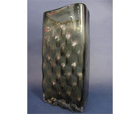 Geoffrey Baxter for Whitefriars basket weave slab vase in slate, 27 cm high