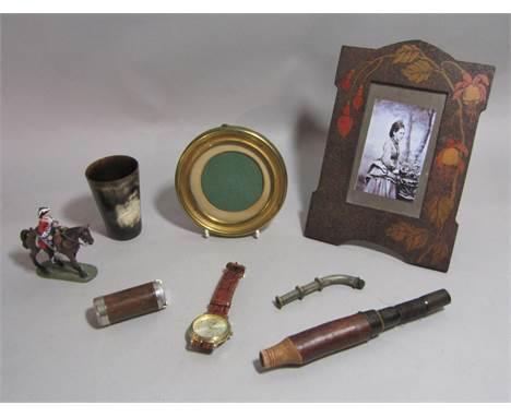 Edwardian pokerwork photograph frame, horn tumbler, Del Prado model of Marlborough Cavalryman at Blenheim etc