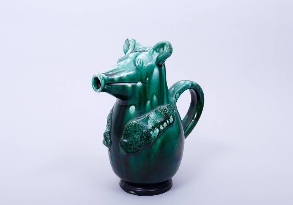 Figürlicher Krug, wohl deutsch Korpus in Gestalt eines stilisierten Tieres, rücks. Ohrenhenkel,