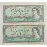 TWO CANADA ONE DOLLAR signed Beattie & Coyne, Ottawa 1954 (2)