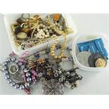 ASSORTED COSTUME & DRESS JEWELLERY to include beads, pendants, rings, together with small quantity