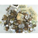 COINS & BANK NOTES to include GB and foreign loose coins, together with Japanese notes ETC
