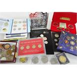 ASSORTED ROYAL MINT COMMEMORATIVE COINS including Pobjoy Spain '82 World Cup Crowns and money bank