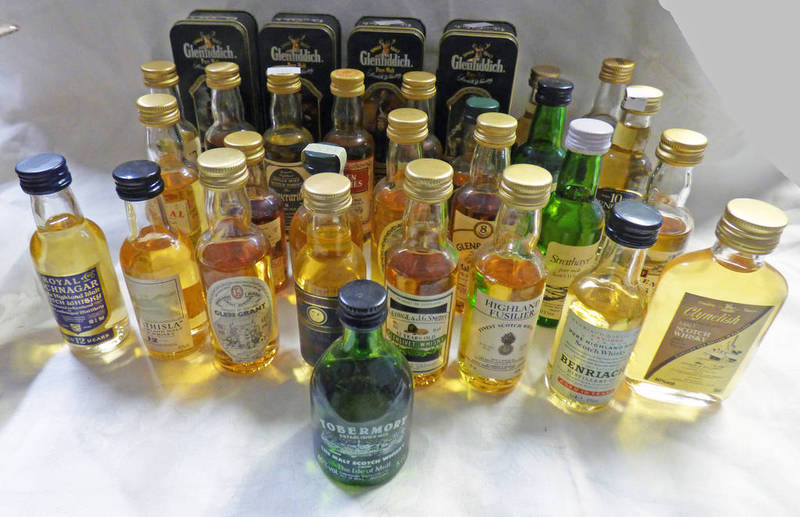 Lot 4117 - VARIOUS WHISKY MINIATURES INCLUDING SINGLE MALT, GLENROTHES 12 YEAR OLD,