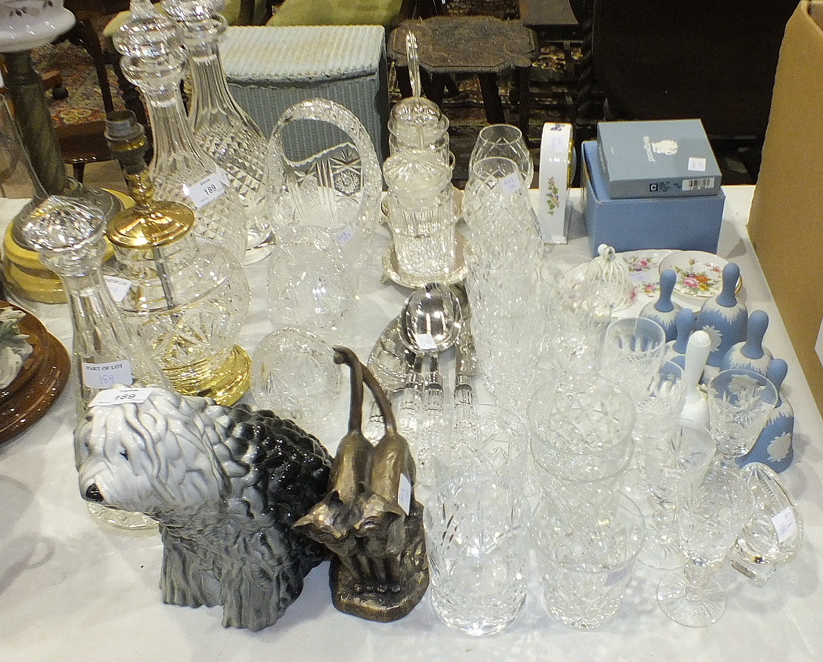 Lot 189 - A pair of cut-glass decanters, 34cm high, various drinking and wine glasses, other glassware, a