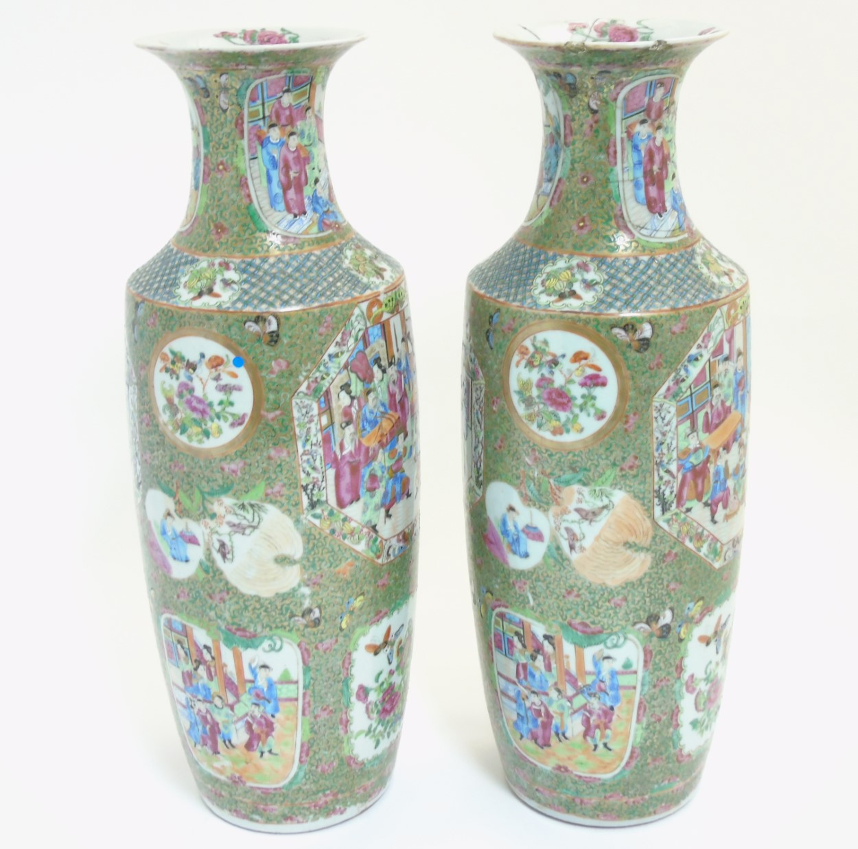Lot 46 - A pair of large Chinese Cantonese / Rose Medallion baluster vases,