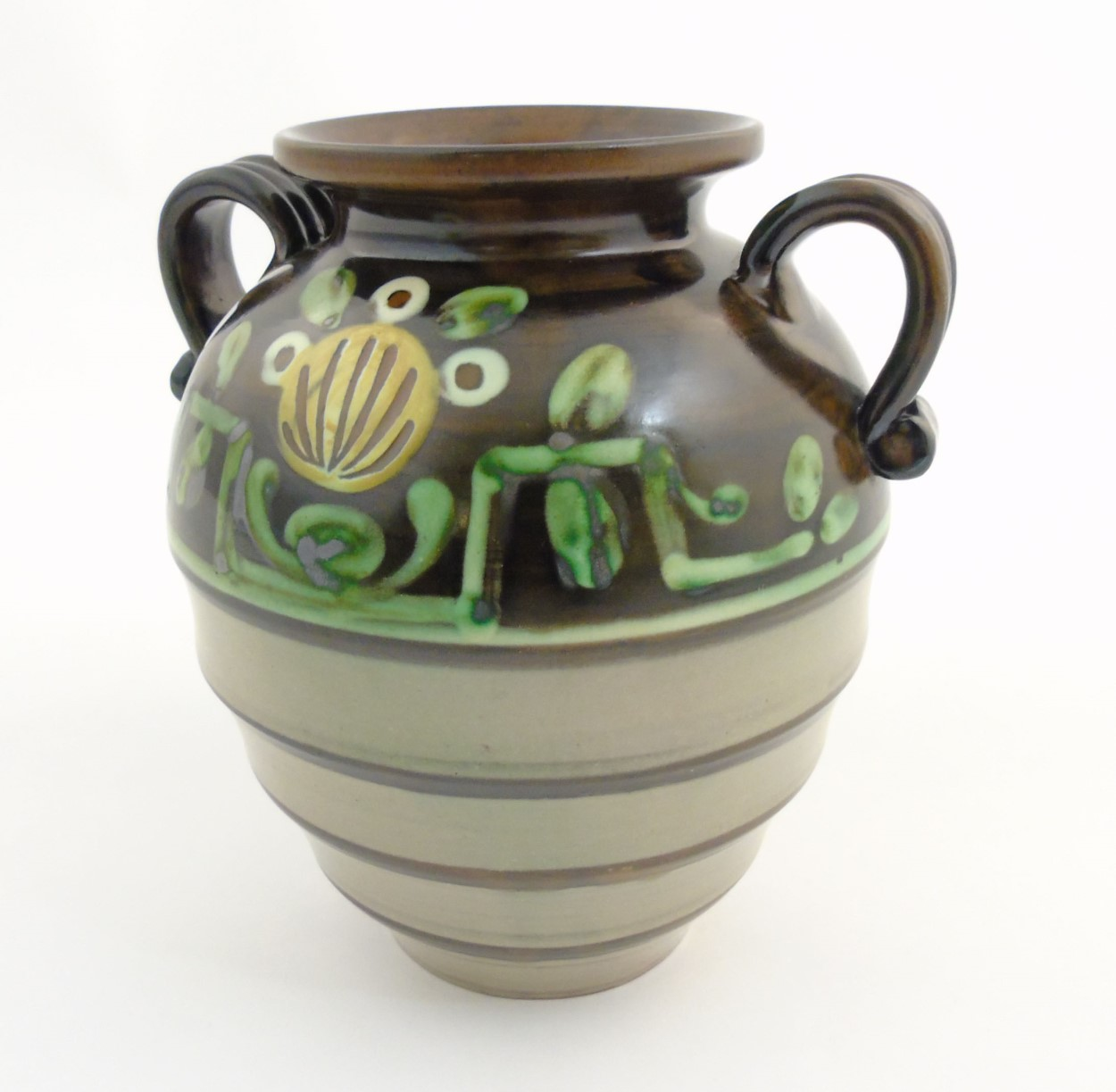 Lot 60 - Scandinavian Studio Pottery: A Swedish two handled vase by Ekeby, Uppsala, makers mark to base,