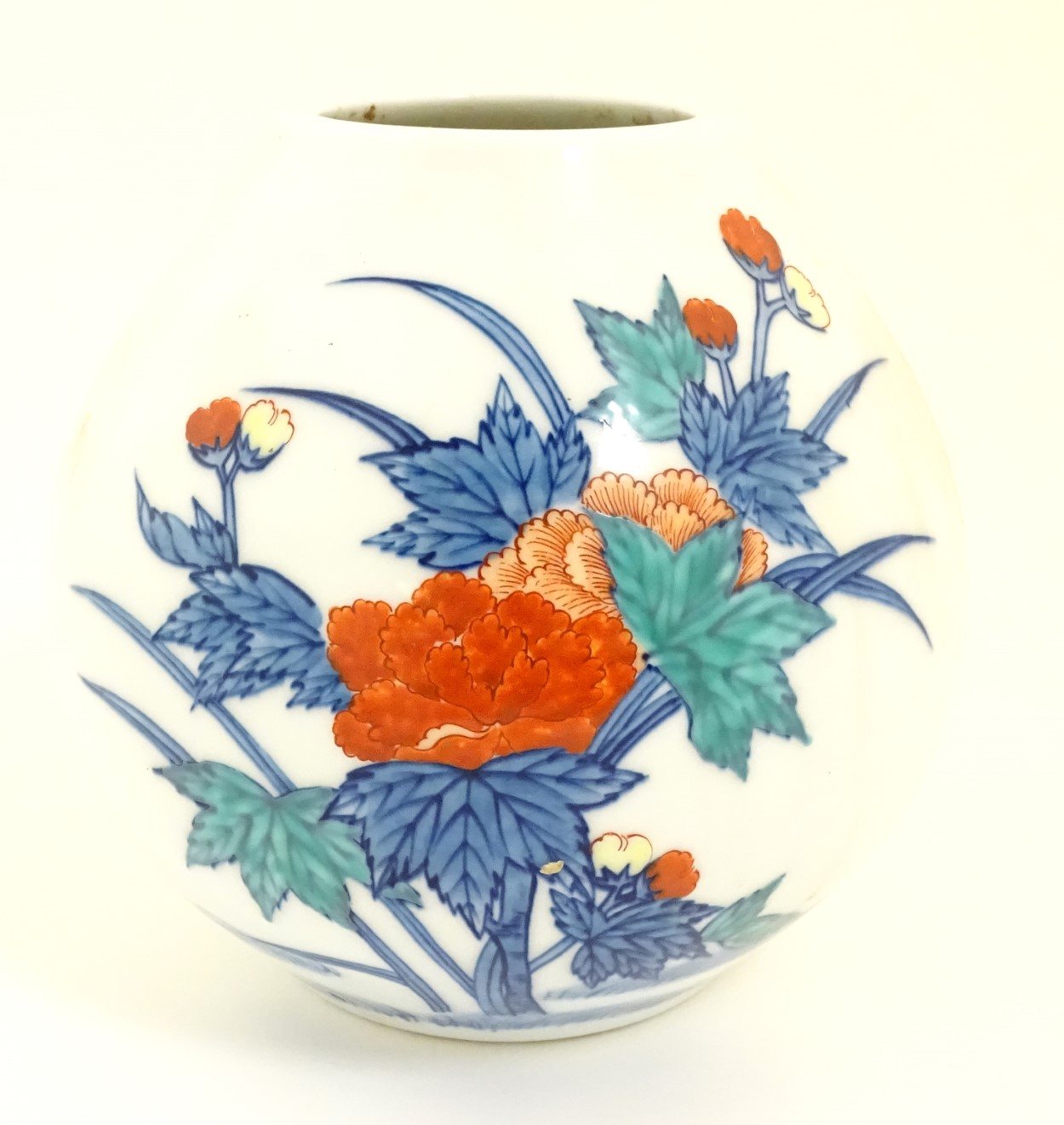 Lot 30 - Oriental vase with floral decoration. Oriental mark to base.