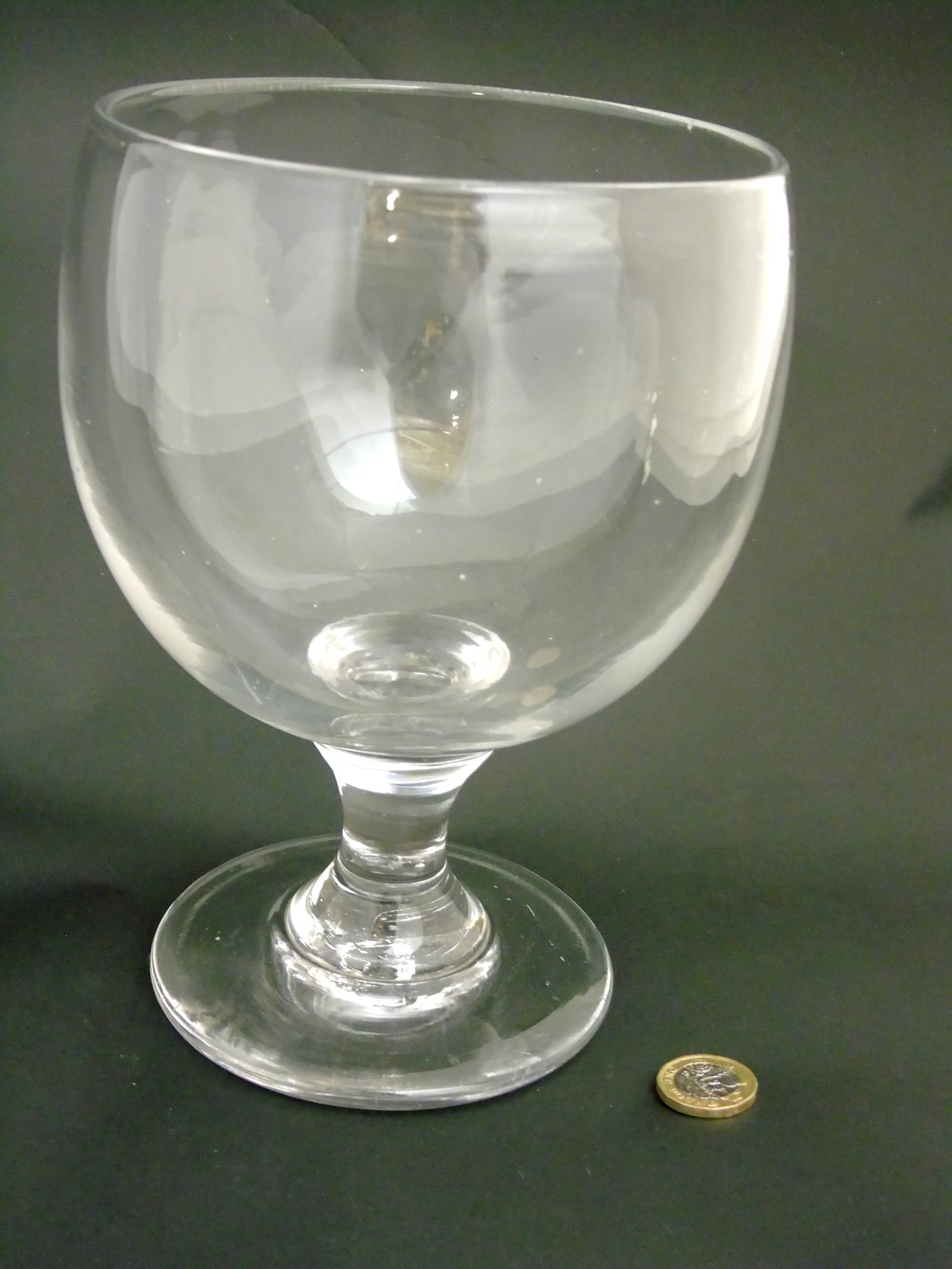 "Lot 99 - A large clear glass rummer 8 1/2"" high x approx 6"" diameter CONDITION: Please Note -"