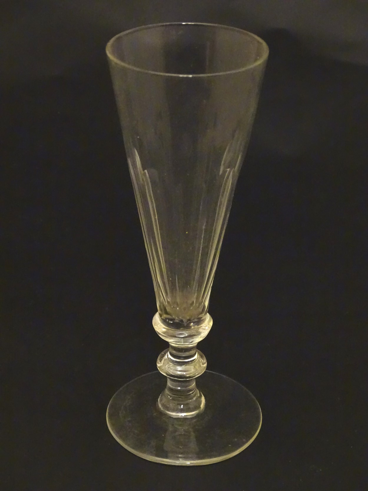 Lot 95 - Ale Glasses : Two early 19th C conical shaped and facet sided pedestal ale glasses ,