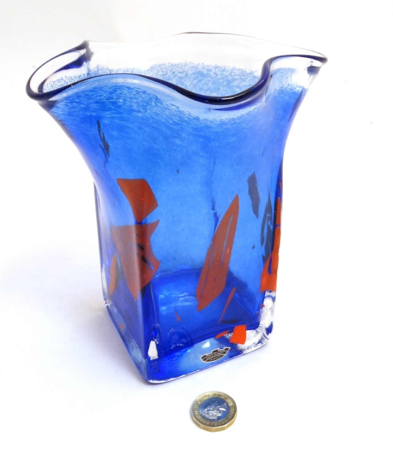 Lot 119 - Scandinavian Studio Art glass: A blue squared vase with frilled rim and red detail by Stockholms