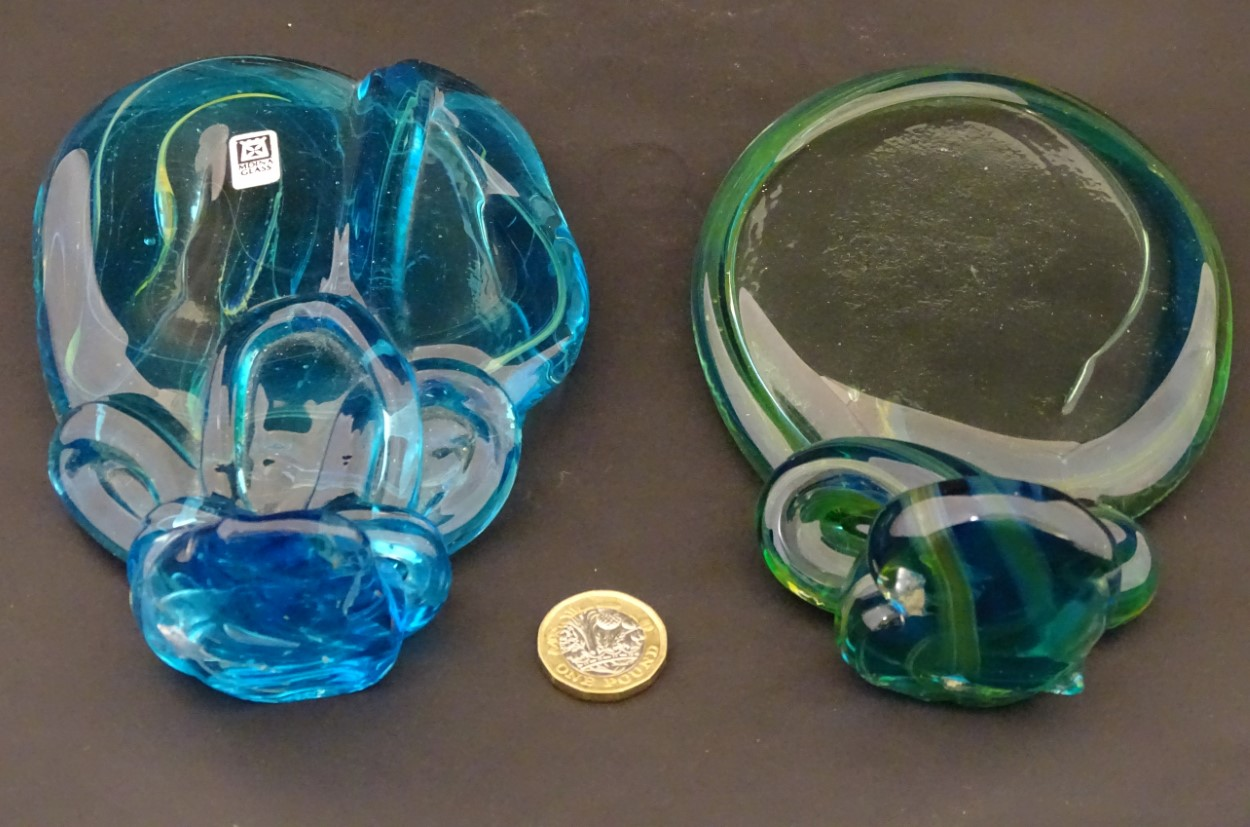 Lot 111 - Mdina glass : two free form sculptures intypical colours , one labelled ,