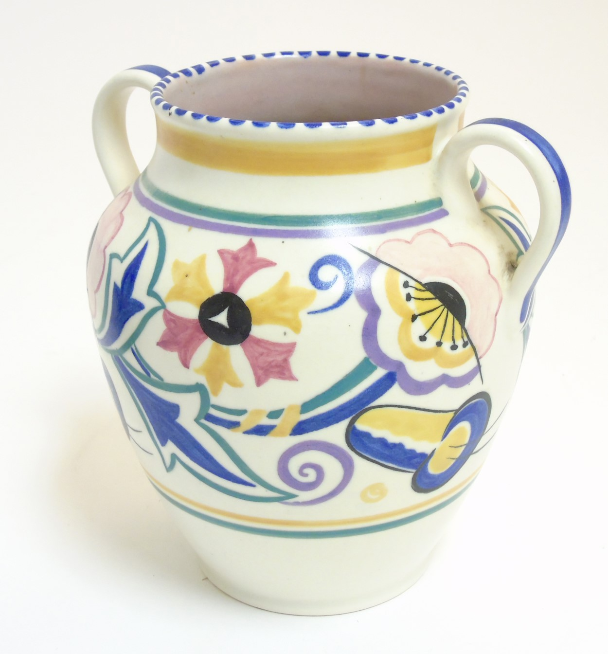 Lot 62 - A 1920/30s Poole Pottery traditional twin handled vase, shape 462,