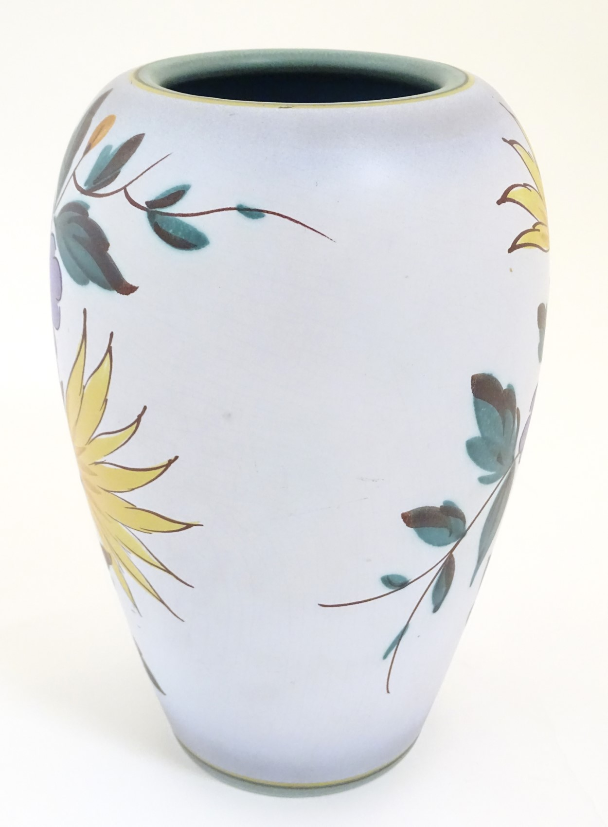 Lot 58 - A Viola pattern Gouda vase. Marked under 1493, Flora Gouda, Holland, Viola. Height: approx.