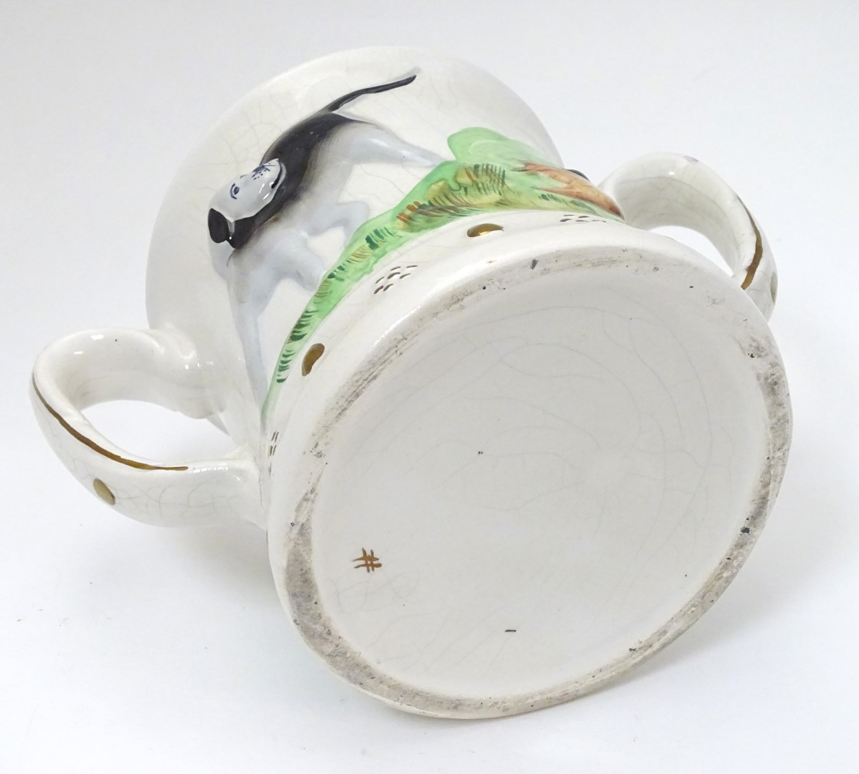 Lot 50 - A Staffordshire Loving Mug / Frog mug,