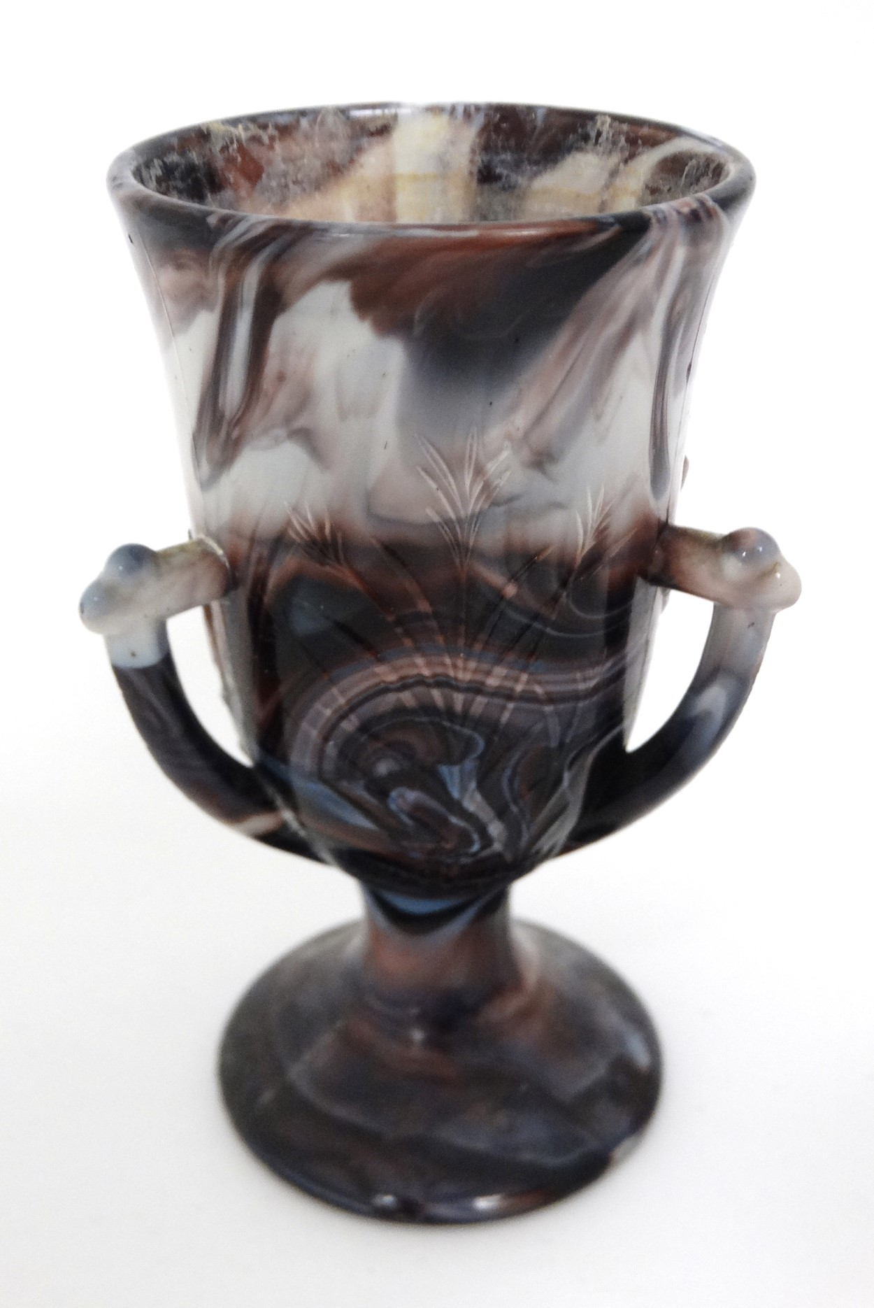 Lot 104 - Glass : a North Country(Davidson ) pedestal cup with three handles and impressed bulrush decoration