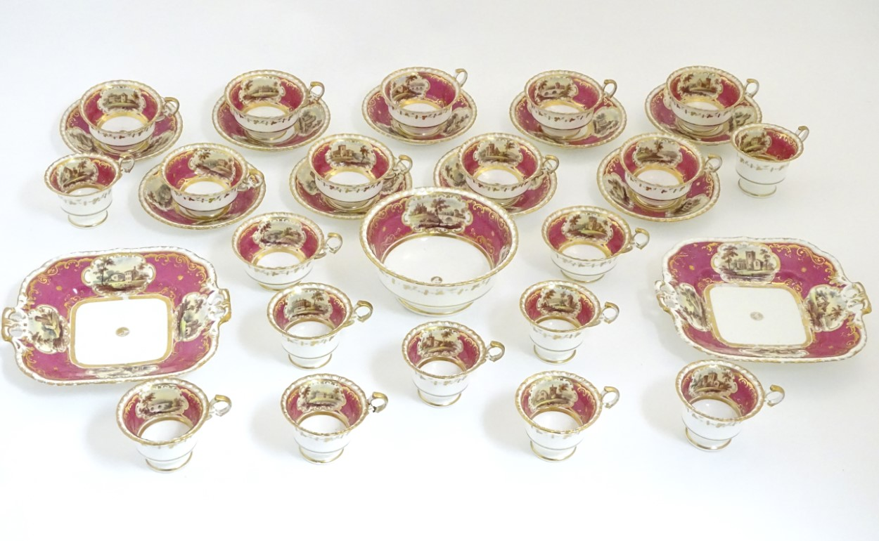 Lot 87 - A quantity of 19thC porcelain tea wares in puce with hand painted vignettes depicting countryside