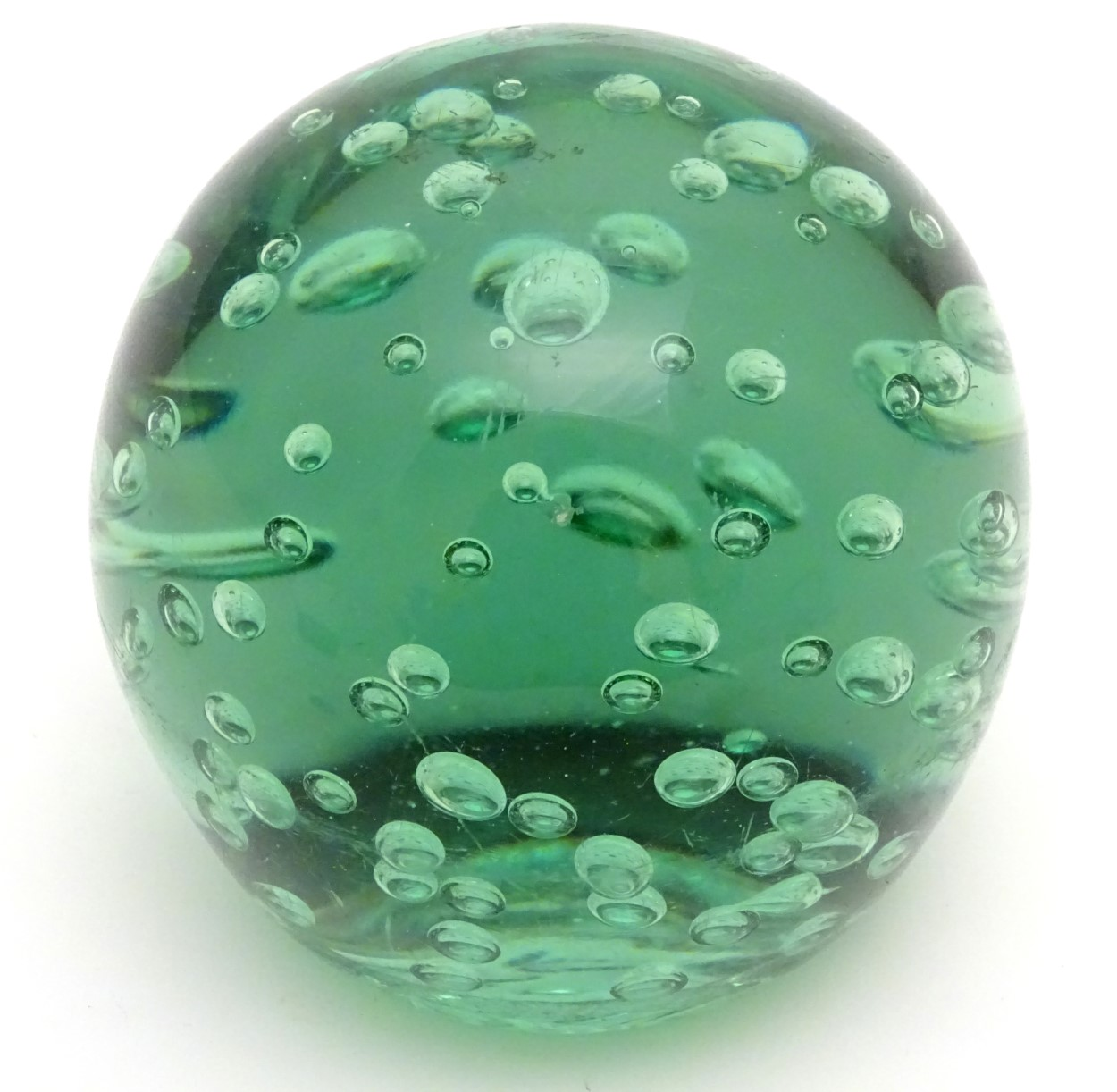 Lot 117 - Victorian Glass : An Aqua ' Dump ' weight ( often used as a door stop ) with air inclusions ,