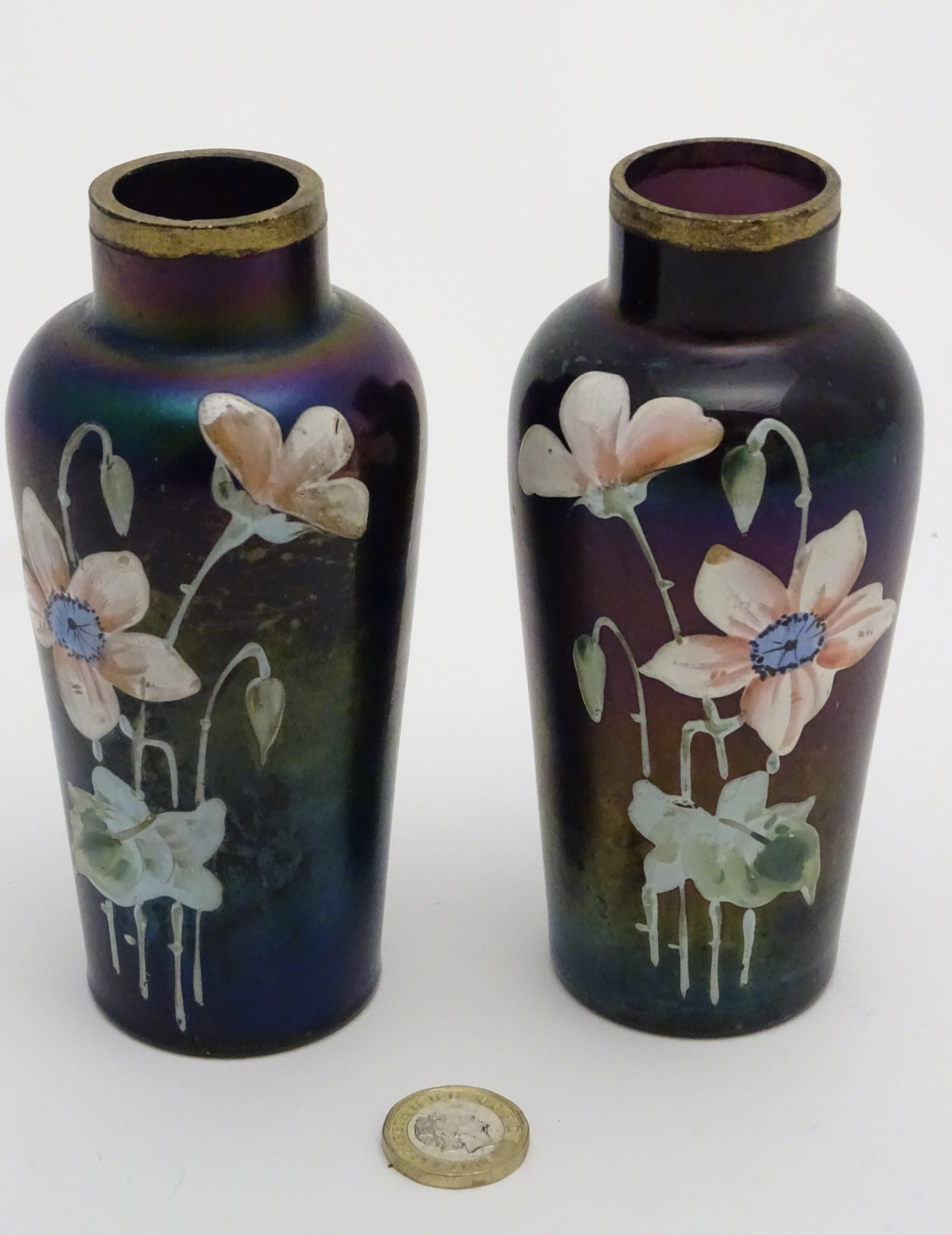 Lot 105 - Victorian Glass : a pair of iridescent glass vases with hand painted flower decoration and gilt