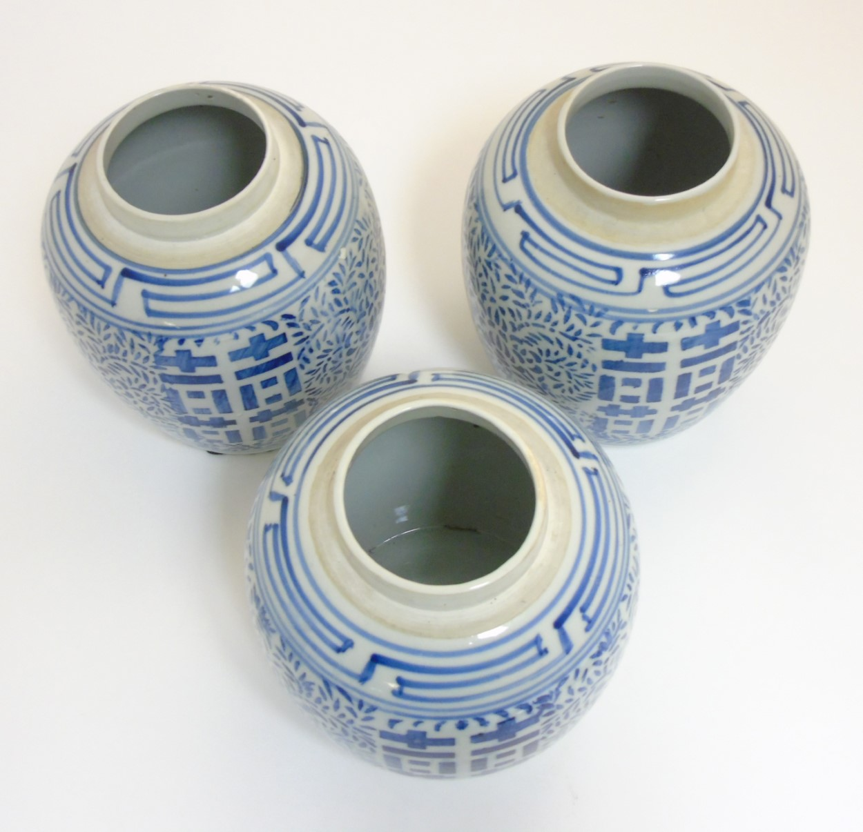 Lot 13 - 3 Oriental blue and white 'Double Happiness' lidded ginger jars with chinoiserie decoration,