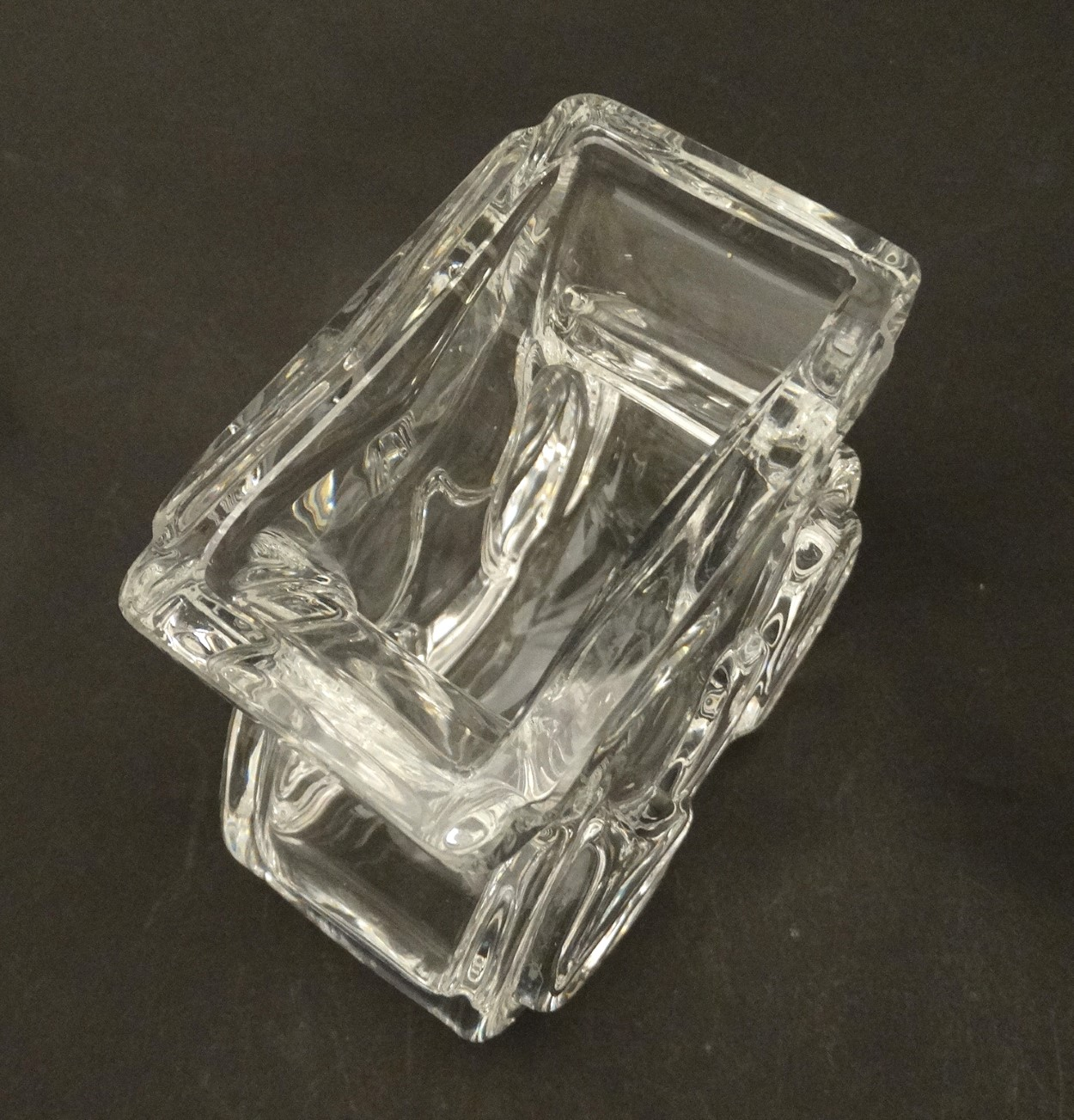 Lot 118 - A mid 20thC Scandinavian Royal Krona glass vase, signed and numbered to base,