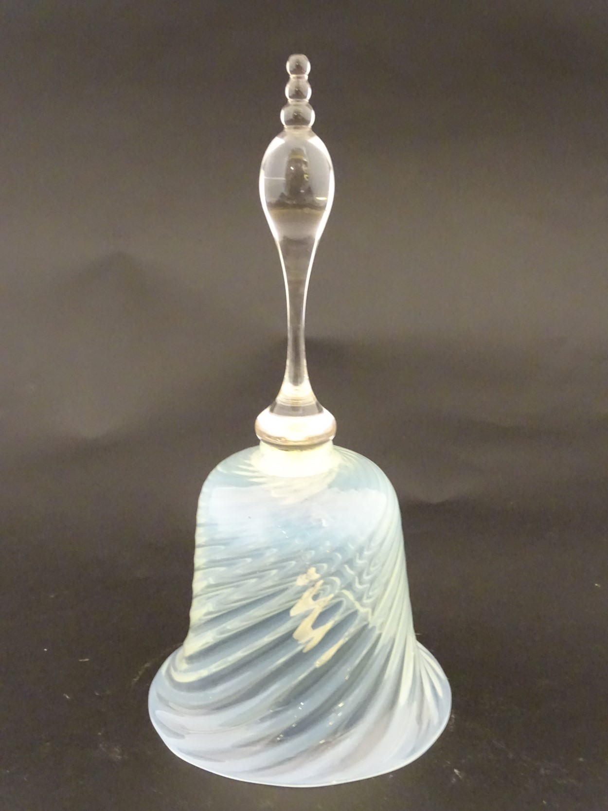 Lot 106 - A Vaseline glass bell with clear glass handle,