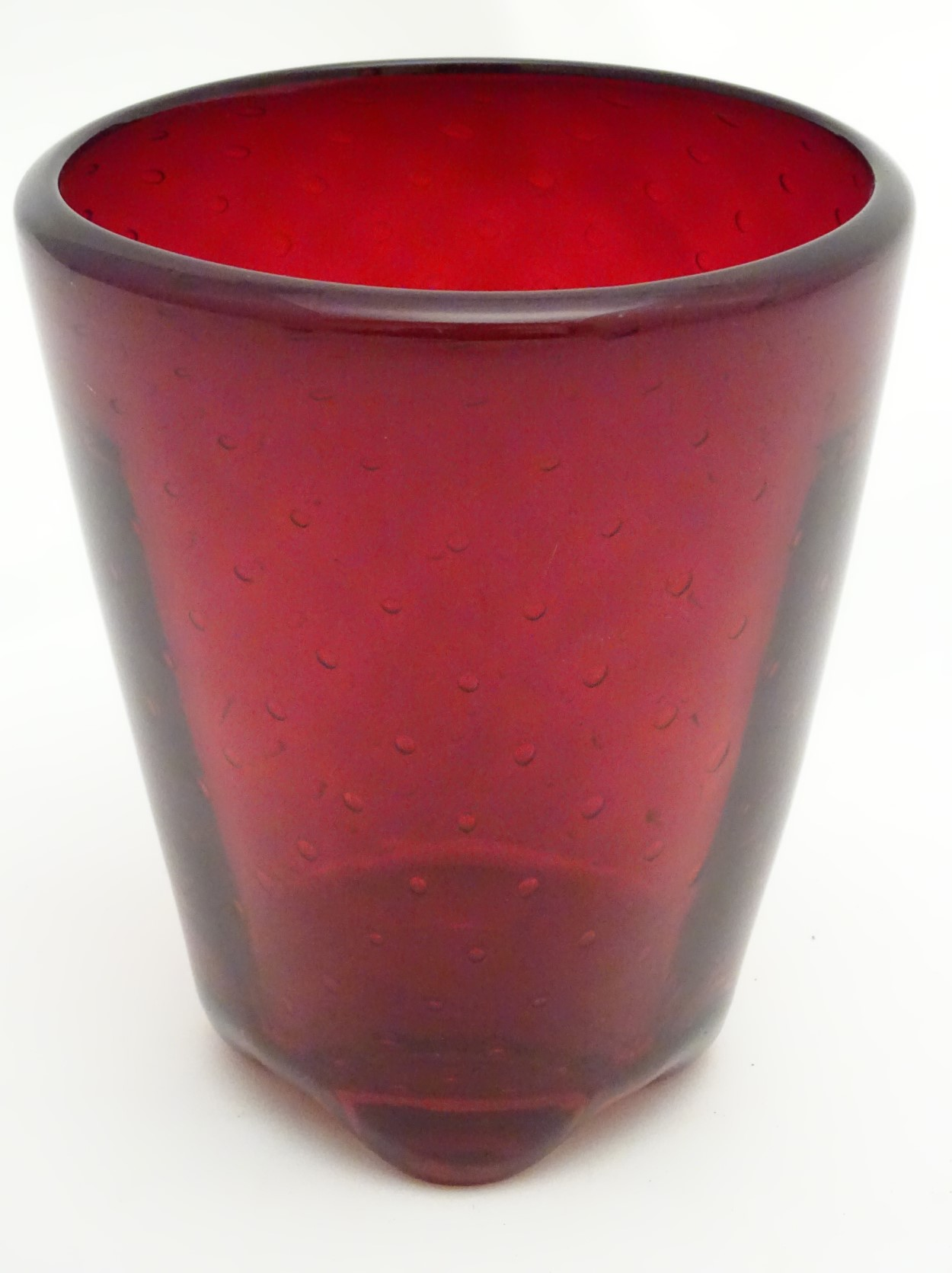 Lot 109 - British Whitefriars : a red , bubble control ' Molar ' vase ,
